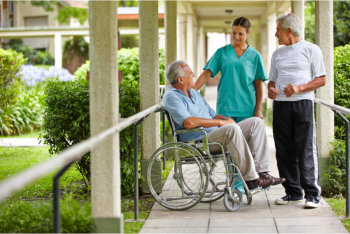 elderly men and caregiver